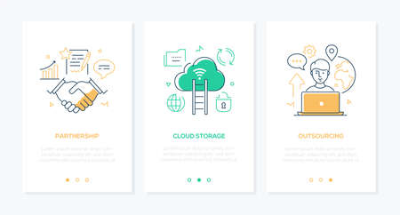 Business and technology - set of line design style vertical web banners with copy space for text. Images of a handshake, freelancer working at laptop. Partnership, cloud storage, outsourcing concepts