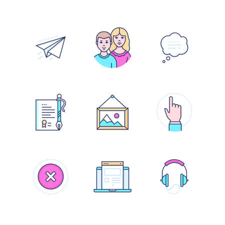 Social media - modern line design style icons set Ilustração