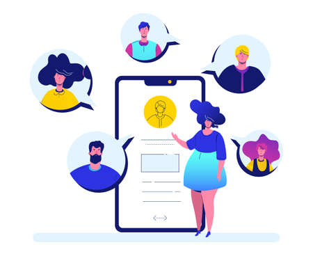 Online meeting - flat design style colorful illustration on white background. A cute girl with a smartphone chatting with her colleagues, partners or friends. Perfect for your website and mobile apps