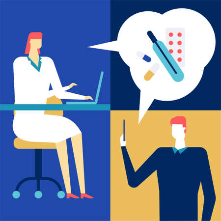 Digital medicine - colorful flat design style illustration. A composition with a female doctor in overall consulting a man online via smartphone and laptop, prescribing pills to the patient Reklamní fotografie - 120084193