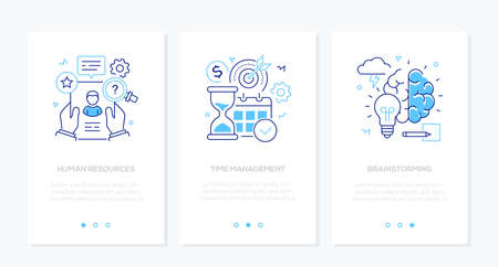 Business and finance - set of line design style vertical web banners with copy space for text. Images of a CV, hourglass, calendar, lightbulb, brain. Human resources, time management, brainstorming Illustration