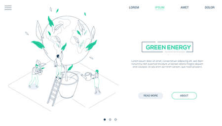 Save the planet - line design style isometric web banner
