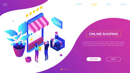 Online shopping - modern colorful isometric vector web banner on purple background with copy space for text. Header with characters, people making orders, big smartphone with storefront, sale label