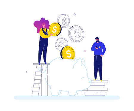 Financial success - modern flat design style colorful illustration on white background. Composition with male, female specialists, creative team putting money into piggy bank. Business growth concept