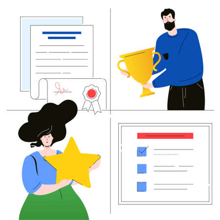 Company testimonials - flat design style colorful illustration on white background. Unusual composition with colleagues, boy holding an award, girl with a star, a diploma, certificate and check list