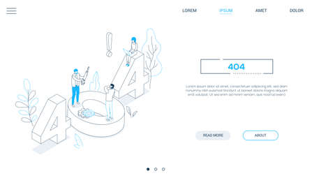 Error 404 page - line design style isometric web banner