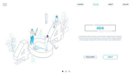 Fout 404-pagina - isometrische webbanner in lijnontwerpstijl