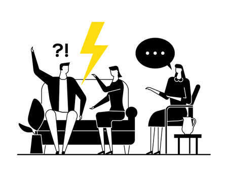 Family psychologist - modern vector flat design style illustration. Black, yellow and white composition with a female specialist consulting an arguing couple, wife, husband having relationship problem