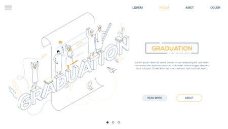 Graduation concept - line design style isometric web banner Archivio Fotografico - 121238583