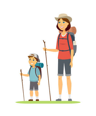 Mother and son go camping - cartoon people characters illustration on white background. Young parent and her child, boy hiking, standing with backpacks, mats. Happy active family, leisure concept