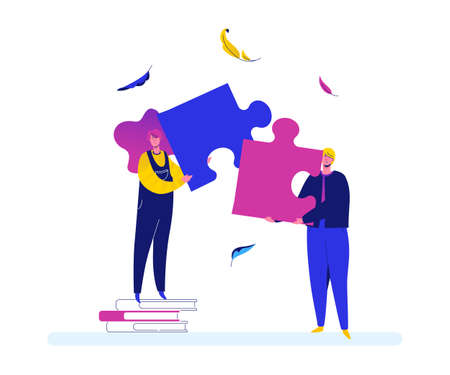Partnership - modern flat design style colorful illustration on white background. High quality composition with cute characters, man and woman, business people holding a puzzle piece. Solution concept