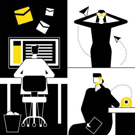 Job search - flat design style vector illustration. Black, yellow and white composition with man sending resumes, woman looking through binoculars, female candidate calling on the phone to the company Stock Illustratie