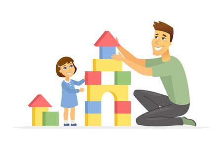 Padre e figlia che giocano - illustrazione dei personaggi dei cartoni animati