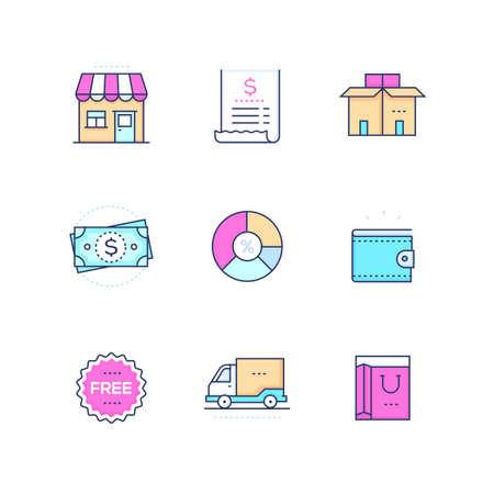 Shopping - modern vector colorful icons set on white background. High quality pink, blue images with a store building, price, cash, free signs, delivery, box, diagram, wallet, truck, bag
