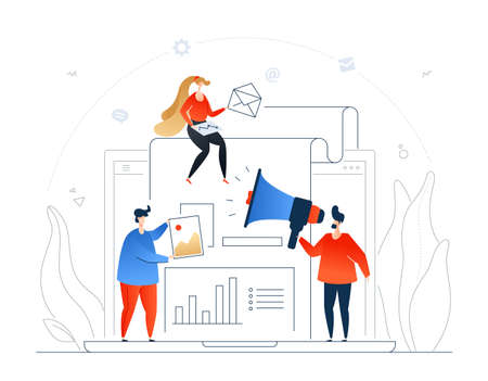 Digital marketing - modern flat design style colorful illustration on white background. A composition with male, female colleagues at the laptop, holding emails and photos, speaking with a megaphone