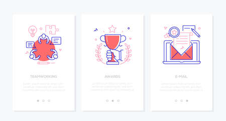 Business - set of line design style vertical web banners with copy space for text. Images of a people at the meeting, trophy, laptop with a letter. Teamwork, awards, email marketing concepts Illustration
