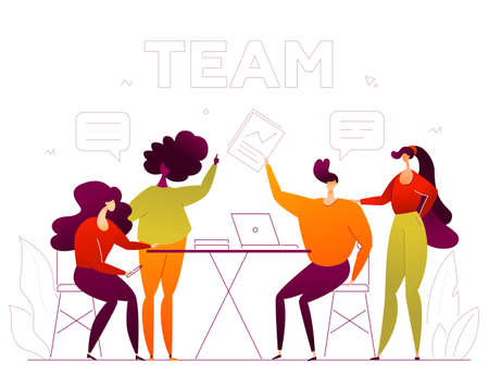 Business team - flat design style colorful illustration on white background. Composition with cute male, female characters, office workers, colleagues sitting at the desk, brainstorming at the meeting Illusztráció