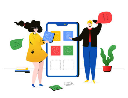 Efficient teamwork - flat design style colorful illustration on white background. High quality composition with male, female colleagues, girl working with a laptop, chatting, a boy with a smartphone Illustration
