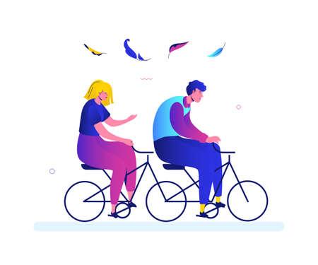 Garçon et fille à vélo - illustration colorée de style design plat sur fond blanc. Composition de haute qualité avec des personnages masculins et féminins faisant du vélo ensemble. Concept de partenariat et de travail d'équipe Vecteurs