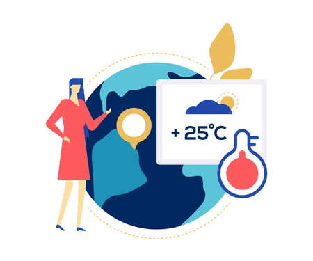 Weather concept - colorful flat design style illustration on white background. Bright unusual composition with a female presenter pointing at a globe, map, telling the forecast with hot cloudy day