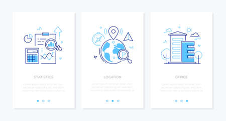 Business and finance - set of line design style vertical web banners with copy space for text. Images of a clipboard, diagrams, globe with map pointers, building. Statistics, location, office concepts Illustration