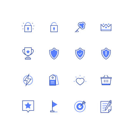 Business concepts - modern colorful line design style icons set on white background. Images of locks, key, crown, award, shields, lightning, label, heart, shopping basket, flag, target contract star