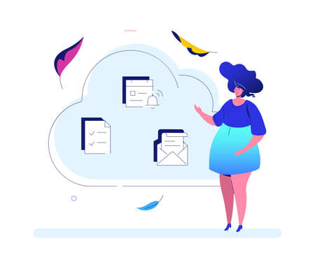 Cloud computing - modern flat design style illustration on white background. High quality composition with female manager, icons of check list, email, calendar. Perfect for website and mobile apps