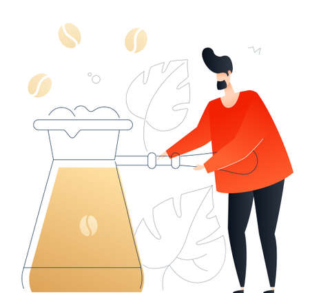 Boy preparing coffee - flat design style colorful illustration on white background. An unusual composition with cute character, a man holding a cezve, images of beans, linear leaves. Cafe concept Foto de archivo - 122391451