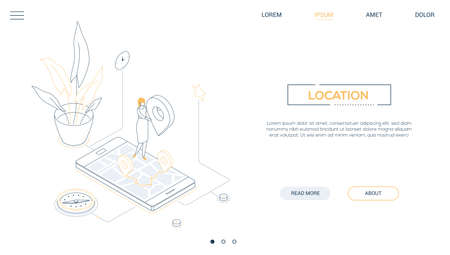 Office location - line design style isometric web banner on white background with copy space for text. A header with a female worker on a smartphone with a map on the screen, holding geo tag, compass