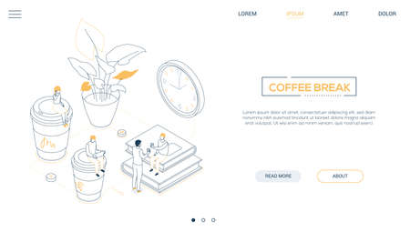 Coffee break - line design style isometric web banner on white background with copy space for text. A header with business people, male. female workers, cups, plant, books, clock. Office life concept Banco de Imagens - 122391454