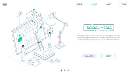 Social media marketing - line design style isometric web banner on white background with copy space for text. A header with male, female SMM specialists, images of computer monitor, lamp, book, chats Stock Vector - 122144563