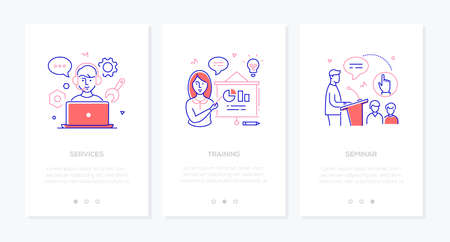 Online education - set of line design style vertical web banners with copy space for text. Call center operator at laptop, woman at flip chart, man making speech. Services, training, seminar concepts Illustration