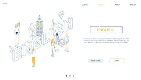 English language - line design style isometric web banner on white background with copy space for text. A header with Big Ben, cute characters with a map, flag of the UK. Education, travel concept