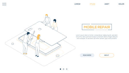 Mobile repair service - line design style isometric web banner on white background with copy space for text. A header with male, female workers, team changing smartphone case, image of screwdriver