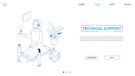 Technical support - line design style isometric web banner on white background, copy space for text. A header with a female call center operator in headset on smartphone screen, colleagues, lightbulb