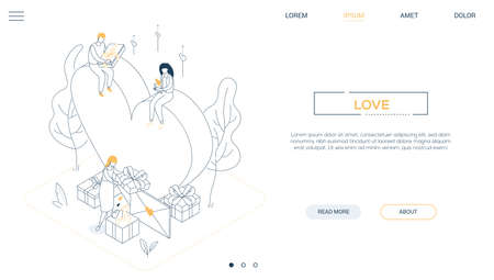 Valentines Day - line design style isometric web banner on white background with copy space for text. A header with male, female characters getting presents and love letters, image of a big heart Illusztráció