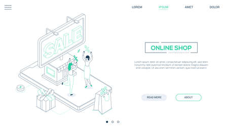 Online shop - line design style isometric web banner on white background with copy space for text. Header with happy women, big smartphone with a storefront, percentage signs. Special offer concept
