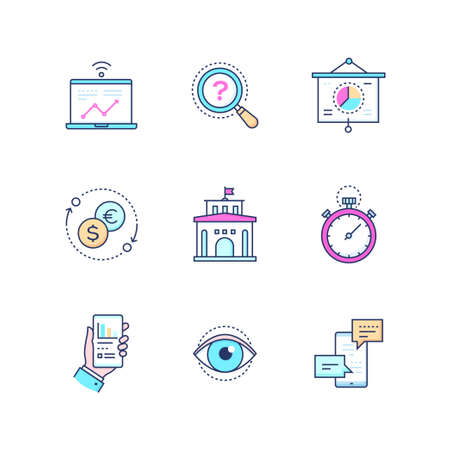 Business concepts - set of line design style icons. Pink, blue images of images of infographic charts on laptop and smartphone, money exchange, bank, time management, promotion, vision, chat, message Stock Illustratie