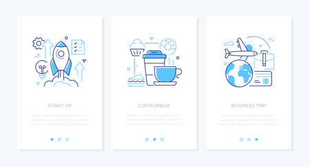 Business and finance - set of line design style vertical web banners with copy space for text. Images of a rocket, cups, donut, plane and globe, card. Startup, coffee break, office life, trip concepts Иллюстрация