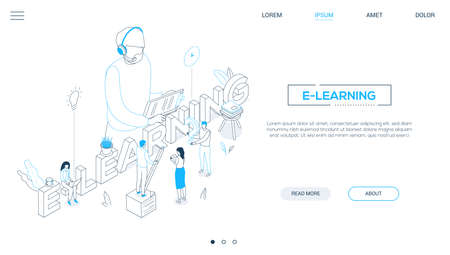 E-learning concept - line design style isometric web banner on white background with copy space for text. A header with students making notes, teacher in headset with clipboard. Online education theme