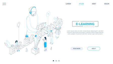 E-Learning-Konzept - isometrisches Web-Banner im Liniendesign-Stil auf weißem Hintergrund mit Kopienraum für Text. Eine Kopfzeile mit Schülern, die Notizen machen, Lehrer im Headset mit Zwischenablage. Thema Online-Bildung