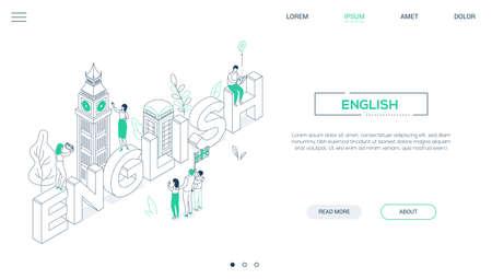 Idioma inglés - banner web isométrico de estilo de diseño de línea sobre fondo blanco con espacio para copiar texto. Encabezado con Big Ben, cabina telefónica, turistas con un mapa, bandera del Reino Unido, tomando fotos. Educación