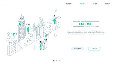 English language - line design style isometric web banner on white background with copy space for text. Header with Big Ben, phone booth, tourists with a map, flag of the UK, taking photos. Education Illustration