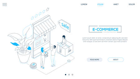 E-commerce - line design style isometric web banner on white background with copy space for text. A header with cute characters, people making orders, big smartphone with a storefront, sale label