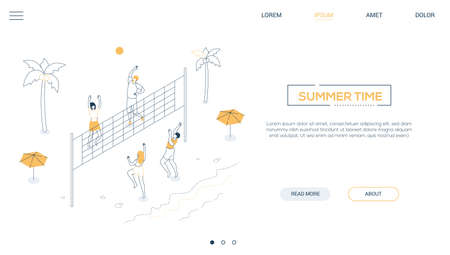 Summer time - line design style isometric web banner on white background with copy space for text. A header with boys and girls playing the beach volleyball. Summer activity, travel, vacation concept