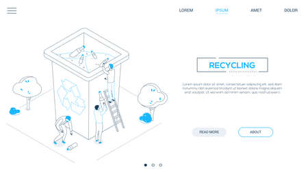 Recycling - line design style isometric web banner with copy space for text. Website header with male, female characters sorting waste, dropping litter, plastic bottles into bin. Ecology concept Çizim