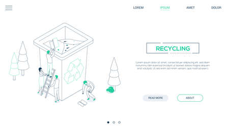 Recycling - line design style isometric web banner