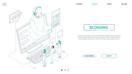 Blogging - line design style isometric web banner