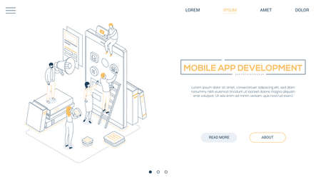 Mobile app development - line design style isometric web banner on white background with copy space for text. A header with characters, developers designing a smartphone interface, placing buttons Ilustracja