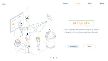 Office life - line design style isometric web banner on white background with copy space for text. A header with colleagues launching the project, paper plane, pinboard, coffee cup, infographic charts Ilustração